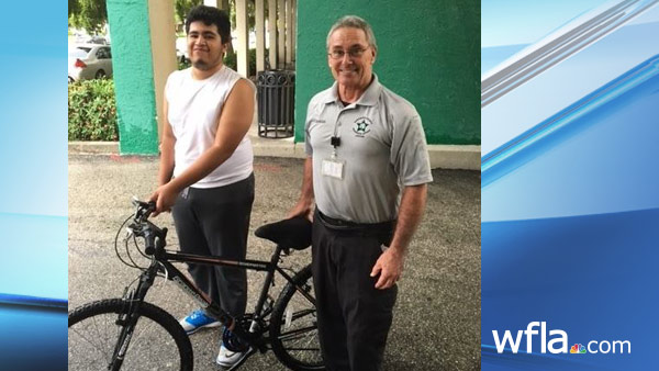 The Sarasota County Sheriff's Office gave a bike to Eric Silva-Gomez.