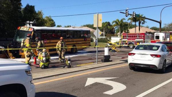 10 injured in Sarasota Co  school bus crash