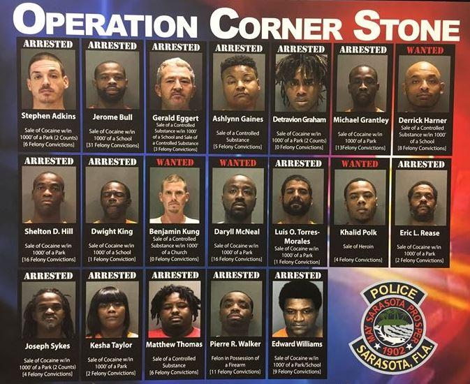 Sarasota police arrest 16 in major drug investigation