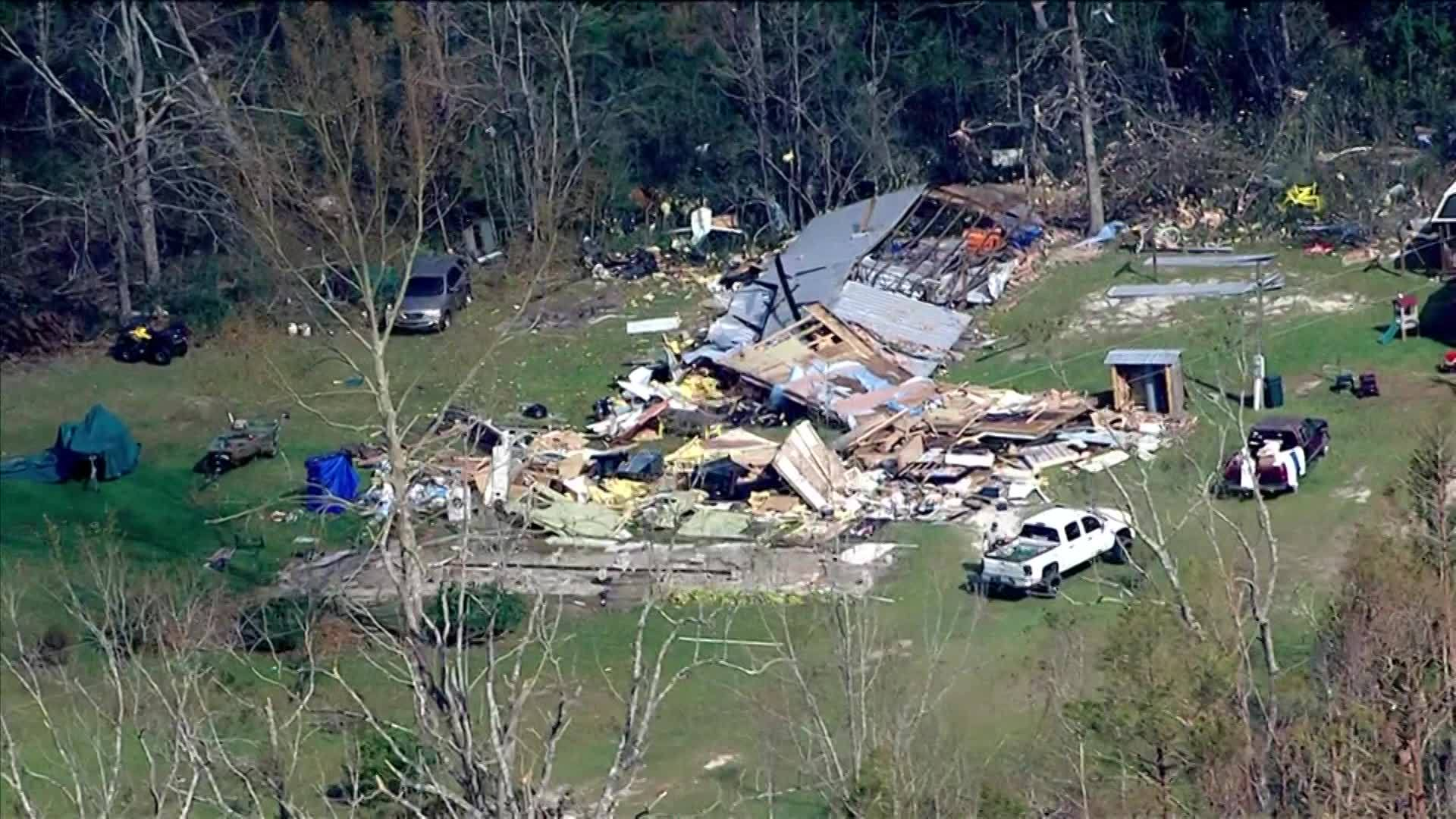 Aerial Tour Shows Severe Hurricane Damage In Wewahitchka
