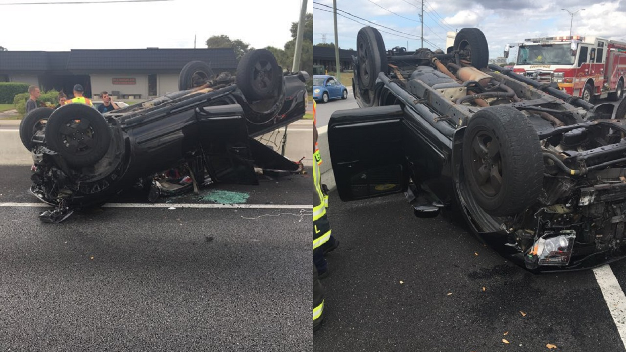 Rollover crash blocking part of US-19 in Clearwater, 3 injured