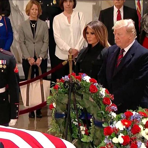President Trump, First Lady pay respects to late President George H.W. Bush