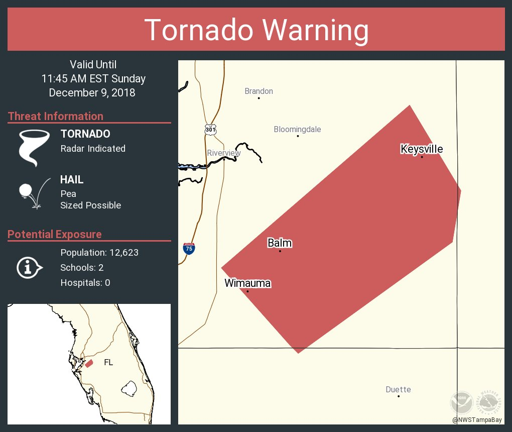 Tornado warning issued for Hillsborough County