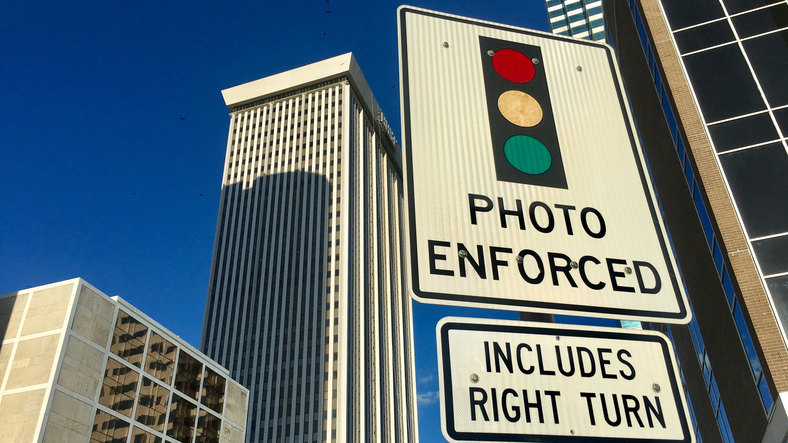 red light camera sign