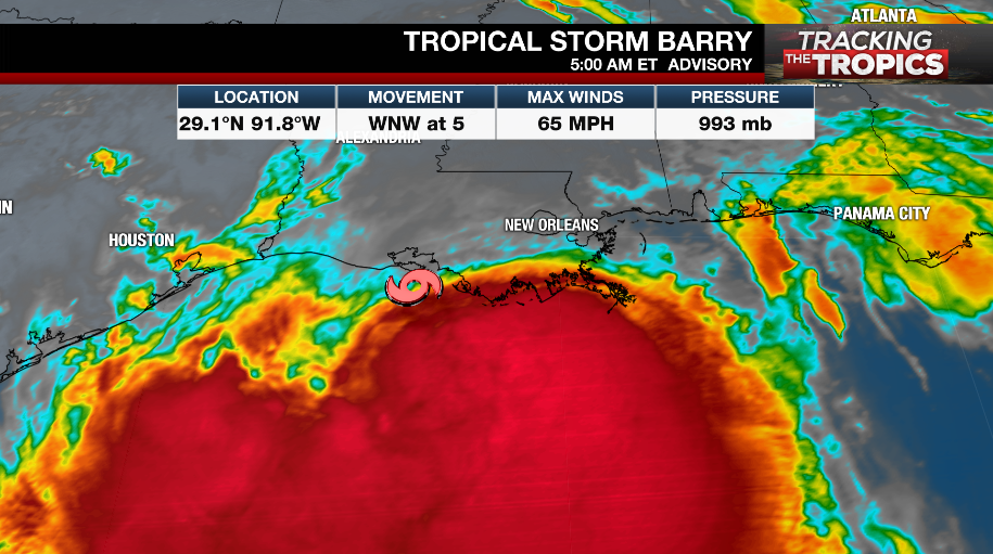 Barry likely to become Hurricane prior to Landfall Saturday