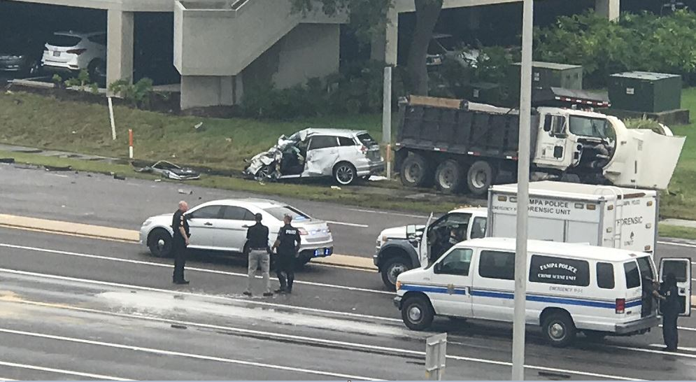 Passenger killed, driver hurt after dump truck slams into