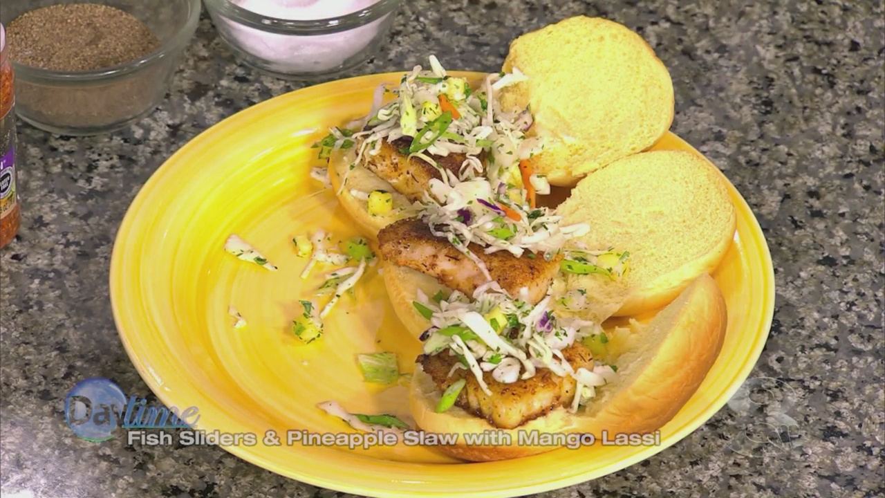 Publix Aprons: Fish Sliders and Pineapple Slaw with Mango