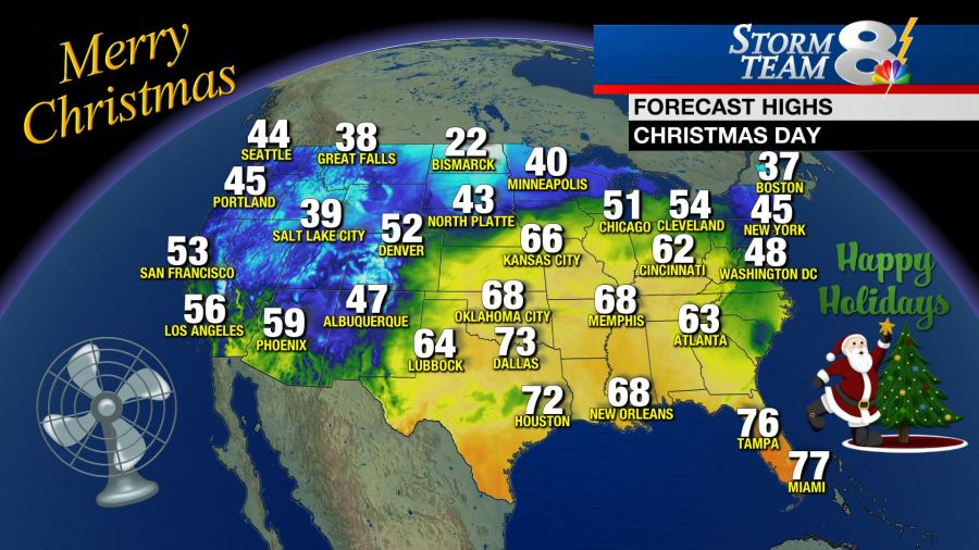 Warm Christmas day across the United States 4