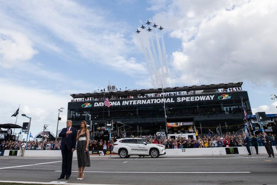 PRESIDENT DONALD TRUMP DAYTONA 500 START YOUR ENGINES MATTED MULTI IMAGE PHOTO