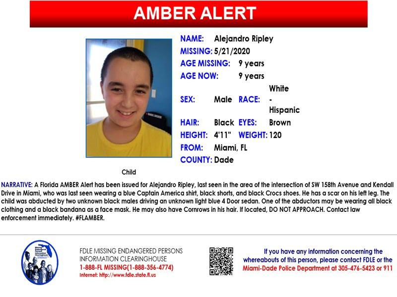 Kidnapped Florida Boy 9 Found Dead Amber Alert Canceled Fdle