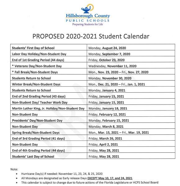 2020 2021 Hillsborough County School Calendar Photos
