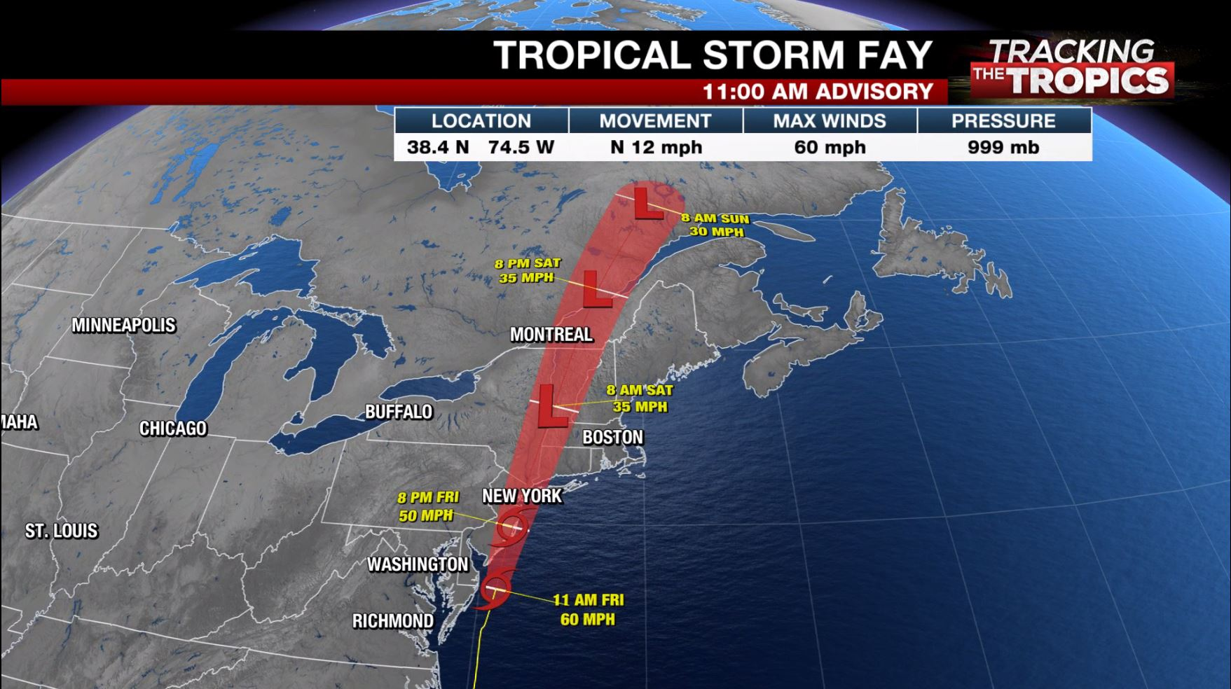 Tracking the Tropics: Tropical Storm Fay moving toward Atlantic coast with 60 mph winds