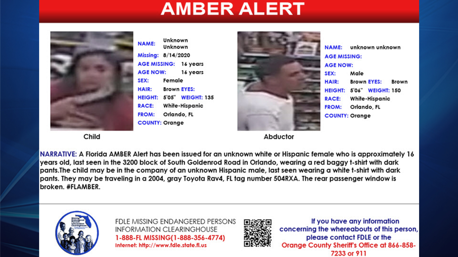 Amber Alert Canceled After Teen At Center Of Possible Abduction Spotted Uninjured On Video Wfla