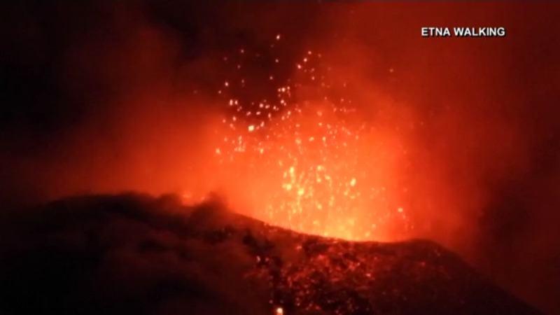 WATCH: Video shows Mount Etna erupt with lava several times
