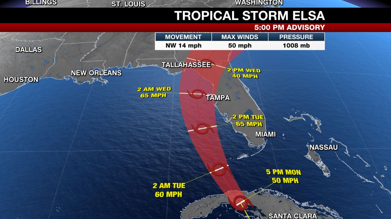 Tracking the Tropics: Tropical Storm Elsa moving over Cuba, expected to reach Florida Keys Tuesday