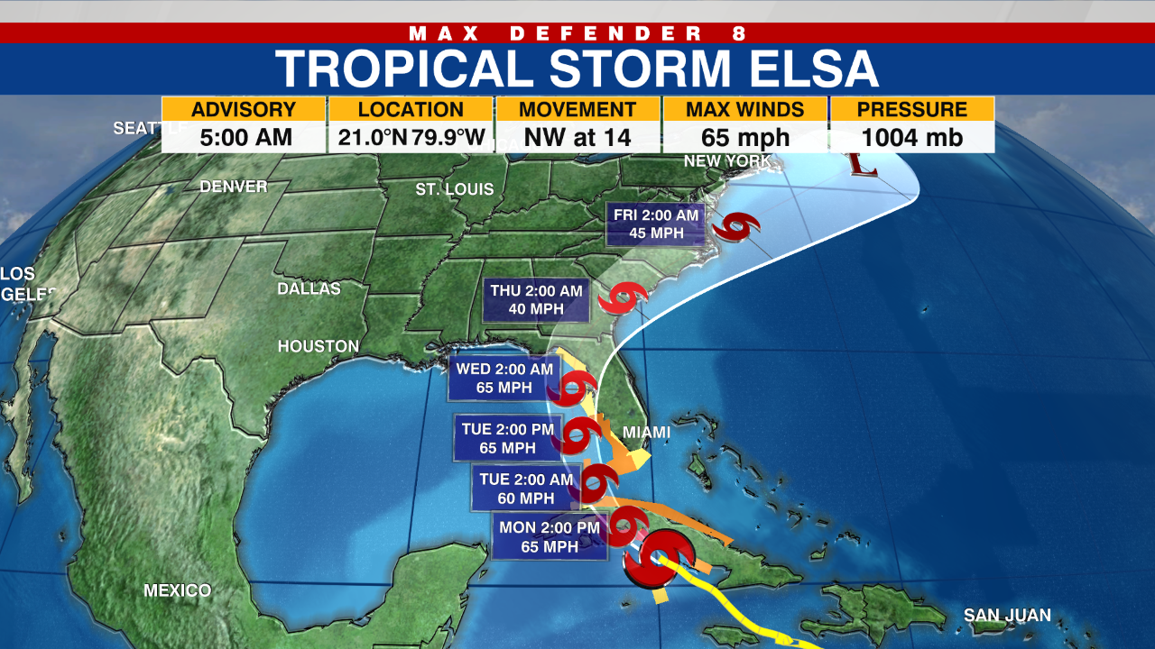 LATEST ON ELSA: Tropical storm warnings, watches extended along Florida's Gulf Coast