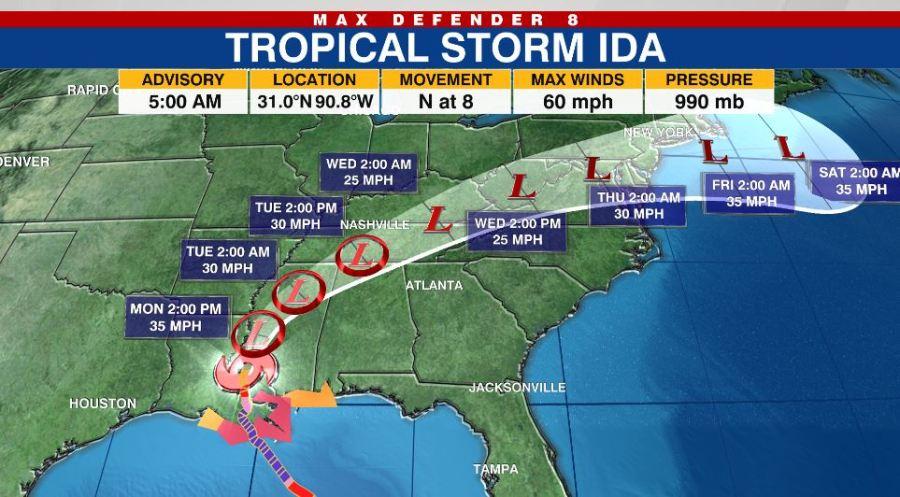 ACTUALIZACIÓN DE LAS 11 AM: Tormenta tropical Ida trae fuertes lluvias y  amenaza de inundaciones repentinas en el sureste de Estados Unidos | WFLA