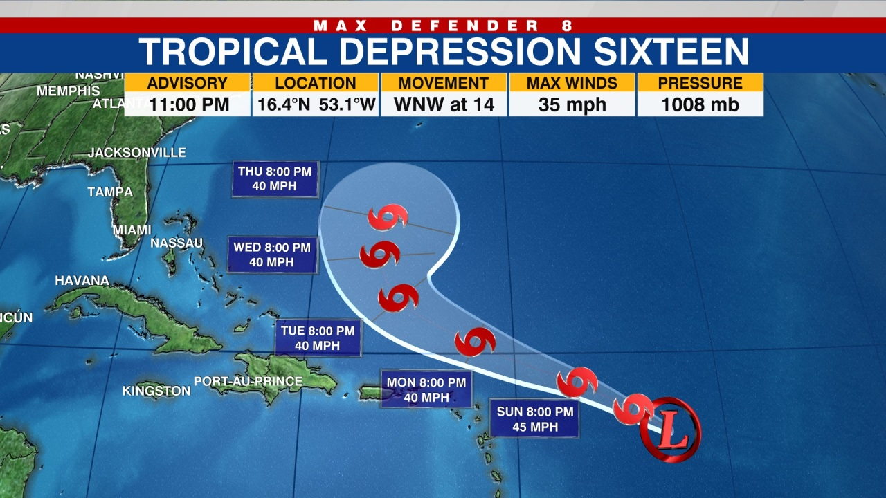 TRACKING THE TROPICS: Tropical Depression 16 forms in the Atlantic